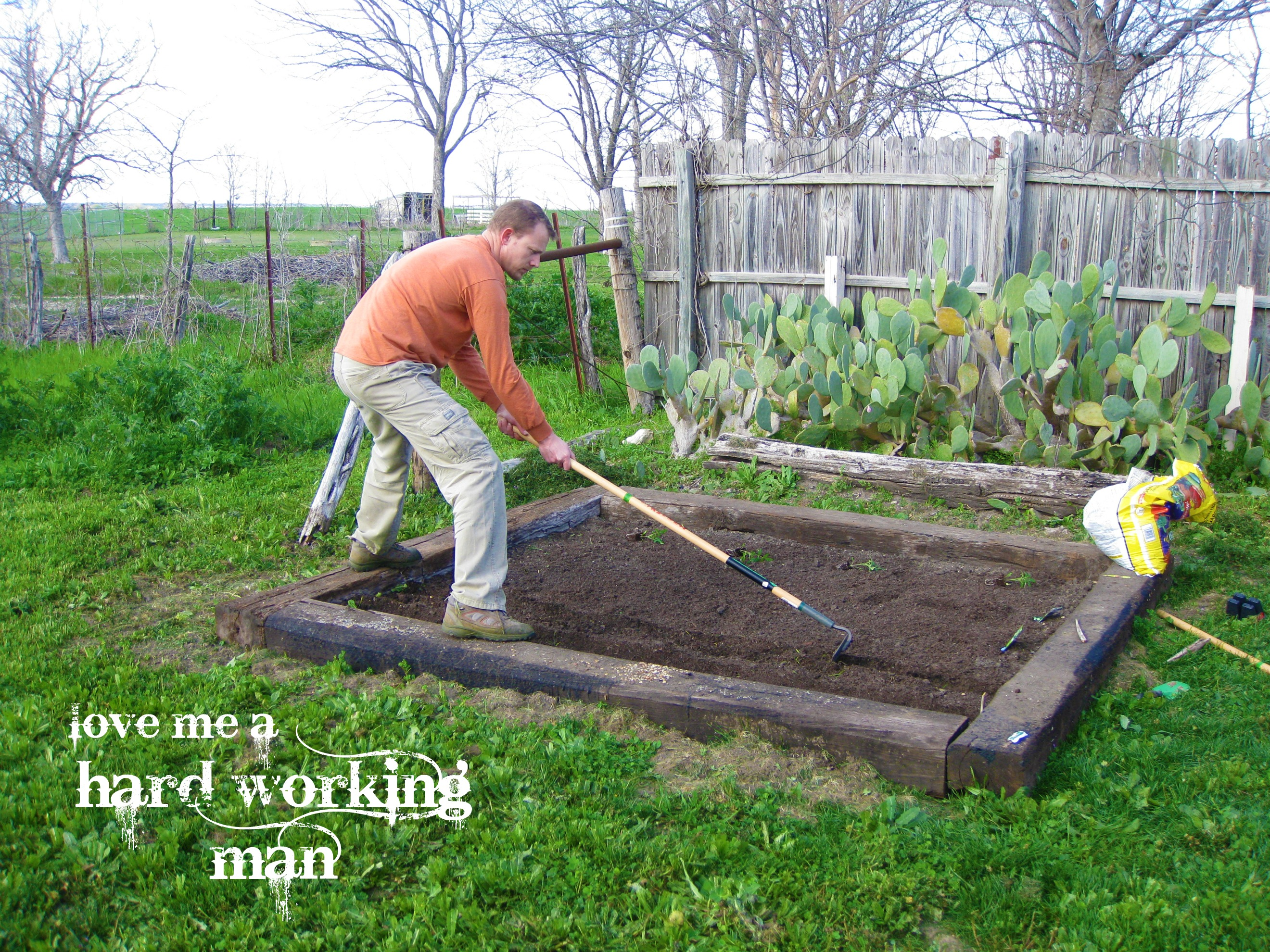 Jason, Dearest Assemlbed The Railroad Ties, Dug Out Sod And De Clumped The  Soil. We Bought Extra Vegetable Soil And Some Fertilizer At Lowes.